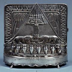 Hanukkah lamp (Center for Jewish History, NYC) Tags: silver candleholders hanukkah menorah jewishholidays ceremonialobjects hanukkahlamps