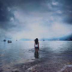 black sea (Melissa Kate.) Tags: blue sea cloud storm black beach water girl dark square island boat waves wind ripple croatia dubrovnik cavtat expansion