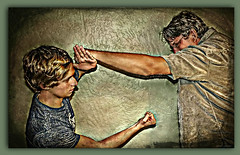 The Pugilists (Chris C. Crowley) Tags: boxers boxing fatherandson fighting selfdefense horseplay chriscrowley celticsong22 thanksgiving2012 thepugilists frazierandshawncrowley