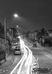 Sommacampagna by Night (Simone Mascetti) Tags: street city light blackandwhite italy white black lamp car vertical skyline night landscape scenery long exposure view pov stop verona veneto sigma1770 sommacampagna canon550d simopeak simonemascetti