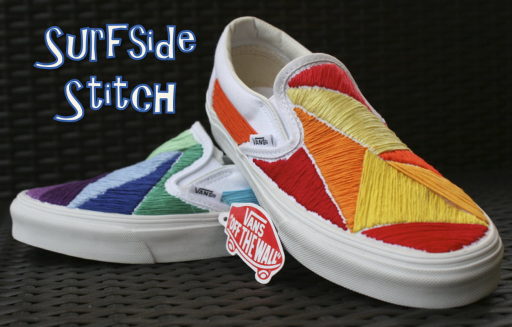 896047425c8566 Custom Embroidered Mismatched Vans (hpolanco) Tags  shoes stitch embroidery  needlepoint stitches vans handsewn
