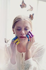 Colors of Your Mind (Aisha Tasveer) Tags: color cute girl glitter vintage paint pretty butterflies