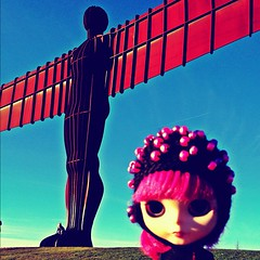 Aurora  traveling blythe at the angel of the north sculpture by Antony Gormley