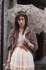 7D0079 Auban Haired Young Lady with Parrasol & cream lace dress, wearing horns & Goggles - Whitby Goth Weekend 3rd Nov 2012 (gemini2546) Tags: nov lace goth week 3rd long 2470 auban young brown canon sigma dress hair cream 7d lens lady jacket whitby 2012 victorian horns goggles gun parrasol beige