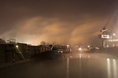 Pirat (_David_Meister_) Tags: winter orange water fog night stairs germany deutschland boot boat wasser long exposure ship nebel nacht harbour crane atmosphere mainz kran schiff atmosphre treppen zollhafen davidmeister