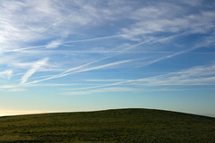 Day 318 - Busy skies (Ben936) Tags: blue cloud green hill bluesky streaks vapourtrails