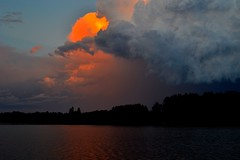 Another Loon Lake Sunset (ross064) Tags: trees sunset orange lake storm water minnesota clouds outside outdoors loonlake palo