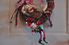 Sock Monkey Wins! (BKHagar *Kim*) Tags: holiday silly monkey ribbons funny elf wreath sockmonkey elves monkeyday december14 bkhagar mrsockmonkeytoyou