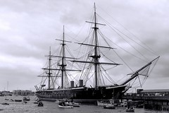 HMS Warrior (1860) (Matthias Harbers) Tags: hmswarrior armouredfrigate navy royalnavy museum warship ship steamship nationalhistoricfleet portsmouthhistoricdockyard visit harbor port water travel canon powershot g3x 1 inch superzoom dxo photoshop elements topaz labs 1inch 1bwblack white monochrome