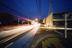 Day 226/366 : Light Trails (hidesax) Tags: 226366 lighttrails dusk street pavement yellow bricks blue line star light trails stream ageo saitama japan hidesax sony a7ii voigtlnderheliarhyperwide10mmf56 366project2016 366project 365project