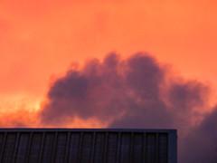 Pink Fluffy Clouds (Steve Taylor (Photography)) Tags: building garage roof blue mauve orange newzealand nz southisland canterbury christchurch northnewbrighton summer dusk sunset fluffy cottonwool pink