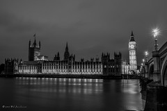 Political calm (MJSAFC10) Tags: bigben parliament housesofparliament river water thames riverthames light nikon blackandwhite uk night nightshot nightphotography black westminster bridge westminsterbridge monochrome longexposure dark
