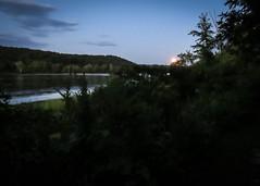 Full moon peeking over the ridge (hickamorehackamore) Tags: 2016 ct ctriver canon connecticut connecticutriver haddam haddammeadows fullmoon sandbar statepark summer sunset