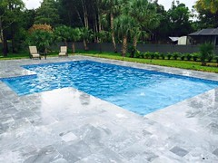 sky blue french pattern, grey pavers, grey marble pavers,