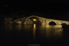 The bridge of the Devil (dennislorenzetti (D14)) Tags: bridge architecture medieval ponte architettura medievale longexposure lungaesposizione river fiume yellow giallo lights luci night notte nightphotography fotografianotturna mountains montagna