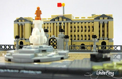 London Black Taxi passing by Buckingham Palace (WhiteFang (Eurobricks)) Tags: lego architecture set landmark country buckingham palace victoria elizabeth royal royalty family crown jewel imperial statue tourist united kingdom uk micro bus taxi