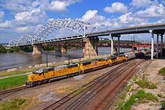 "Westbound Manifest in Kansas City, MO (""Righteous"" Grant G.) Tags: up union pacific railroad railway locomotive emd ge power west westbound manifest freight kansas city missouri"