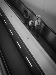 escalator (tobiasbegemann) Tags: escalator bw black white two persons tobias begemann saarbrücken germany world street landscape people animal travel nature photography creative commons flickr
