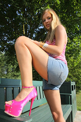 Missy 19 (The Booted Cat) Tags: sexy blonde cute teen girl demin jeans hotpants legs highheels heels sandals