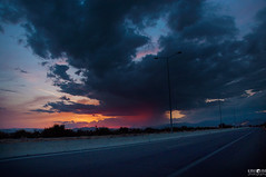 Mystic sunset (kana movana) Tags: sunset road dusk gloaming clouds sky raining landscape colorful outdoor amazing weather dark d90 europe