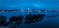 Tokyo at blue hour (schuetz.photography) Tags: minatoku tkyto japan jp tokyo alien asia world rainbow bridge blue water stone skyline cityscape travel nikon d810 1424mm nikkor night bluehour odaiba