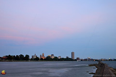 Eastern Glow of Sunset, Buffalo, NY (DTD_5049) (masinka) Tags: lakeshore shoreline lake erie buffalo ny newyork skyline waterfront sunset glow eastern blue hour dusk break wall water cityhall tower skyscraper downtown distant city pink colors etbtsy danielnovakphoto light blackrock canal