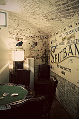 (The New Motive Power) Tags: old sea brick lamp sign table hotel store warm glow quiet conversion fort military basement victorian games structure historic poker solent portsmouth curve venue fortress defence southsea refurbishment baize spitbank canon7d
