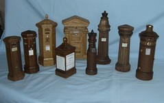 A selection of miniature post boxes by Geoff Tulley (Geoff Tulley) Tags: art miniature post handmade pillar victorian boxes woodern tulley
