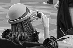 Stylish (Ivan Naurholm. thanks, for more than 500.000 views) Tags: girl hat shopping hair resting shoulder iphone communicating