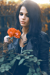BLACK (Katia Popovych) Tags: flowers autumn girls wild portrait art love girl beauty fashion w young teenagers style redlips