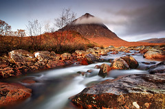 Buachaille Etive Mhor (angus clyne) Tags: trip morning travel light red cloud colour tree art water grass rock zeiss photoshop sunr