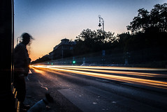 waiting for the traffic go by (malark_) Tags: street city longexposure sunset urban art lights nikon arty traffic nikond70 trail lighttrail longshutterspeed longexpo