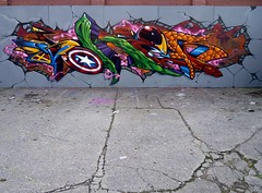 V's the avengers, chapter one,, (sok'em one) Tags: america bristol graffiti thing ironman captain hulk marvel wolverine ask