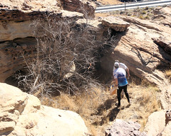 042 In Depression (saschmitz_earthlink_net) Tags: california cliff control boulder orienteering runner 2012 rockformation aguadulce vasquezrocks losangelescounty laoc allanhubsch losangelesorienteeringclub