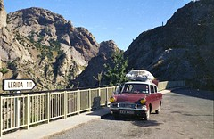 My 1965 Ford Anglia - in Spain (Juanito Moore ( John Moore )) Tags: roof mountains ford yellow silver spain maroon harry potter headlights moore rack radiator muff juanito anglia lerida juanitomoore