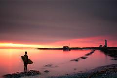 epic scene (JorunnSjofn) Tags: ocean boy sunset sea lighthouse beach water canon iceland sand reykjavik le nd grotta beachboy surferboy nd110