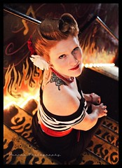 Fire & Fury () Tags: fiery redhead red head pinup model girl female feminine woman retro cool image photo picture photograph stonegate nostalgia south tacoma nostalgic americana stairway stairs lights lighting portrait beauty beautiful usa united states america striped shirt doll flames olympus pen tattoo tattoos justincowgill voronaphotography