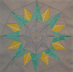 Block for eatsleepsew (jenjohnston) Tags: yellow grey star aqua compass quiltblock paperpieced quiltingbee 4x5bee