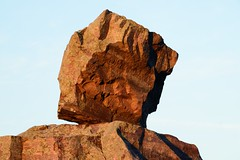 Boulder atop Devils Doorway at Devils Lake State Park - Wisconsin (tgiacb717) Tags: statepark trees sky lake nature water leaves wisconsin clouds outdoors scenery rocks hiking scenic hike trail geology wi devilslake baraboo devilslakestatepark baraboowisconsin baraboowi tgiacb717