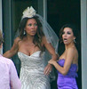 Vanessa Williams wears a wedding dress as she and Eva Longoria film