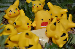Of Mice and Cheese (WindUpDucks) Tags: yellow cheese domo pikachu pokemon qee toy2r