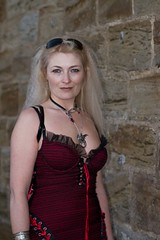 7D0034b Beautiful Blond Haired Lady with red dress - Whitby Goth Weekend 3rd Nov 2012 (gemini2546) Tags: nov goth week 3rd black red 2470 sun canon sigma dress hair beautiful 7d lens lady glasses boots blond whitby 2012 pendent cleavage