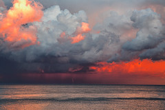 A Sea Storm (tjshot) Tags: light sunset sea italy cloud storm nature clouds canon reflections eos lights evening bay coast seaside italia shine power takumar full genoa genova frame m42 5d gloom 28 mm 105 tornado shining raging storming