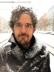 man in snow (Winfried Veil) Tags: schnee winter portrait snow berlin germany deutschland drops portrt prenzlauerberg wassertropfen tropfen iphone