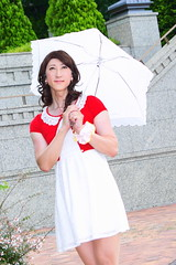 day238-17 red mini cardigan & white race onepiece (Yumiko Misaki) Tags: red white race mini crossdressing transgender transvestite crossdresser cardigan day232 day238 day239 transsexsual lodispotto opepiece