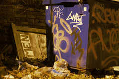 Not all men are trash (IAmTheSoundman) Tags: door city ohio men sign night garbage jake cleveland barshick
