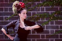 Flower Couture (Caseytron) Tags: woman fashion hair outside model tango carmen blackdress flowercouture