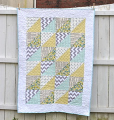 Quick Triangles Baby Quilt (Lindsay Sews {@CraftBuds}) Tags: blue white yellow modern triangles grey aqua quilt text gray scissors chevron hst babyquilt cribquilt halfsquaretriangles