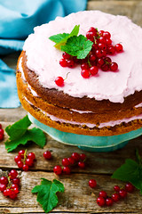 Oat cake with red currant. (Zoryanchik) Tags: red summer food white cake fruit pie dessert berry dish sweet cream fresh sugar gourmet delicious homemade slice bakery snack pastry piece tart baked currant
