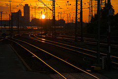 Tracks of orange (helluvastar) Tags: railway orange sun nuremberg nrnberg nuernberg tracks zge bahnhof station